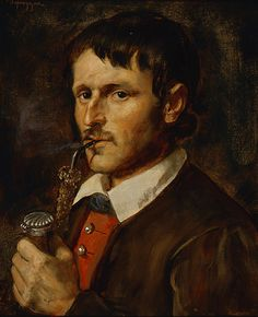 Franz von Defregger (Austrian, 1835-1921). Man with a Pipe, ca. 1910. Oil on canvas. 183/4 x 143/4 in. Charles and Emma Frye Collection, 1952.031