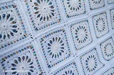 White Stained Glass Afghan, Free Crochet Pattern, Crochet Afghan Pattern, Granny Squares