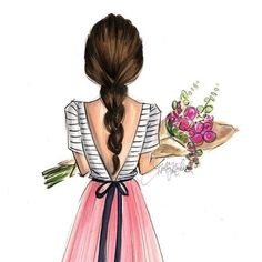 Image uploaded by Namira. Find images and videos about flowers and illustration on We Heart It - the app to get lost in what you love. Bff Drawings, Drawing Sketches, Painting Of Girl, Painting & Drawing, Painting Canvas, Girl Paintings, Diy Canvas, Diy Painting, Arte Fashion