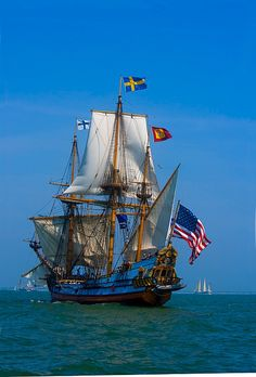 Frequently, sailing ships of the 16th & 17th century had elaborate sterns such as this one whose design & sails hearken back to Sir Francis Drake's flagship, Revenge, in which Drake faced the Spanish Armada in 1588. (MS-9789 Tall ship in the Parade of Ships, Norfolk, Virginia)