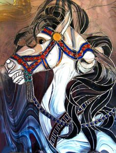 Stained glass carousel horse.
