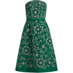 Oscar De La Renta Swirl-embroidered strapless silk dress ($5,990) ❤ liked on Polyvore featuring dresses, green, special occasion dresses, blue strapless dress, green cocktail dress, strapless dress and strapless cocktail dresses