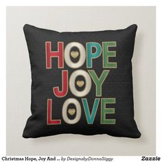 Christmas Hope, Joy And Love on Black Throw Pillow