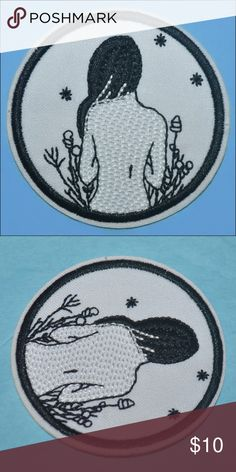 Nature Girl Patch BRAND NEW - black and white - iron on style // tags: patches diy customize custom fashion style witch goth witchy gothic witchcraft girly girls pretty lovely love natural wild wildlife flower floral stitched flowers cute sweet great nice embroidered hair body simplistic simple minimalist beauty beautiful gorgeous stunning special meaning trim rock edge circle round charming charm dark different unique womens woman women trendy trends trend statements piece statement…