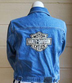 Vintage Harley Davidson Denim Jacket Jean by founditinatlanta, $65.00