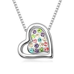 silver heart multi color cubic zironia stoned pendant necklace - mewe-accessories.com  - 1