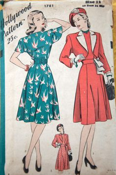 From the mid-40's. Love the bird print dress. Hollywood Fashion, 1940s Fashion, Vintage Hollywood, Diy Fashion, Hollywood Style, Vintage Fashion, Vintage Dress Patterns, Vintage Dresses, Vintage Outfits
