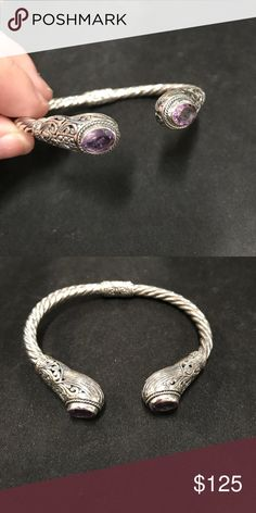 Amethyst Bali cuff bracelet NWOT 925 Sterling silver genuine amethyst bali bangle cuff   Open to offers, ask any questions you may have.   Always up for suggestions on items to add to my shop, let me know what your looking for!  Similar to Kendra Scott , Tiffany & co ,  silpada , Pandora , James Avery , Alicia Jean , sculptural , mine finds by jay king , David Yurman , ippolita , zina Eva ,   Resellers welcome Jewelry Bracelets