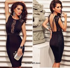 Hot Women Black Ladies Fashion Sexy Party Evening Bodycon Lace Club Pencil Dress