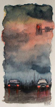 Acuarela - Escenas nocturnas de ciudad, El Semáforo. Watercolor - Night city scenes. The traffic light. HMZEN'14