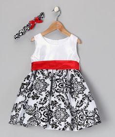 Black white red toddler dress