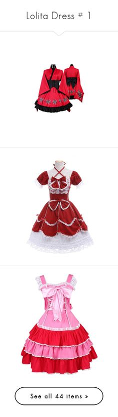 """Lolita Dress # 1"" by lgdalaten ❤ liked on Polyvore featuring dresses, goth dress, gothic lolita dress, gothic clothing dresses, gothic kimono, red goth dress, costumes, cosplay costumes, animal halloween costumes and womens princess costume"