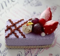 SALE - Felt Cake Handmade with Strawberries and Grapes - Tea Party Toy or Decoration - Photographers Prop. $13.00, via Etsy.