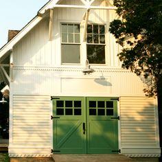 drooooool.... jade green barn doors on white-on-white barn. love the idea for kitchen or bath accents