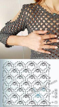 Crochet Jewlery - Boleros tejidos a crochet para dama T-shirt Au Crochet, Beau Crochet, Pull Crochet, Crochet Motifs, Crochet Tunic, Crochet Diagram, Crochet Stitches Patterns, Crochet Woman, Crochet Clothes