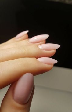 Almond Nails Pink, Almond Nails French, Short Almond Nails, Almond Acrylic Nails, Pink Nails, Almond Nails Designs, Acrylic Nail Designs, Pretty Nails, Super