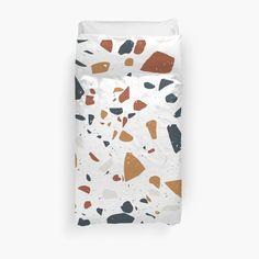 'Terrazzo Stone Pattern (Navy + Terracotta + Mustard)' Duvet Cover by NeptuneDesigns College Dorm Bedding, Duvet Cover Design, Canvas Prints, Art Prints, Terrazzo, Terracotta, Mustard, Chiffon Tops