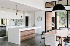 Polished concrete timber interior