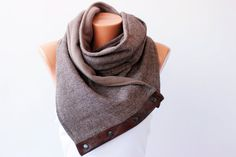 Men .unisex, winter scarf  NECKWARMER scarf  ,men scarf, scarf  with snaps on GENUİNE LEATHER on Etsy, $49.00