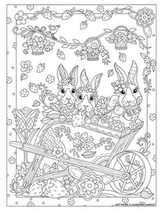 Bunny Wagon ~ Pampered Pets Adult Coloring Book by Marjorie Sarnat