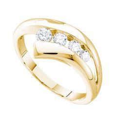 10k Yellow Gold 0.34Ctw Diamond Journey Wedding Ring Band