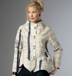 B6106  Loose-fitting, unlined jacket has front and back extending into wide neckline, princess seaming into shaped front bands, shaped hemline and topstitching. #butterick