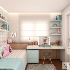 33 Awesome College Bedroom Decor Ideas And Remodel - Thuisdecoratie Girl Bedroom Designs, Girls Bedroom, Living Room Designs, Bedroom Ideas, Bedroom Small, Design Bedroom, Single Bedroom, Childrens Bedroom, Diy Bedroom