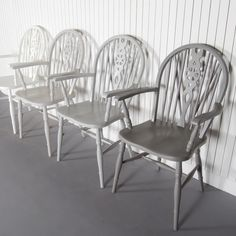 Windsor-£200.00-The Priory Furniture Company made this set of four Windsor dining chairs in the 1970s. Each of the four chairs is finished in a different shade of grey to give a modern ombre effect to these classic designs. The cool tone of each individual Windsor chair would be beautifully highlighted when gathered around our matt black dining table Slate.Product specification:W 50 x D 40 x H 97 cm5kg each