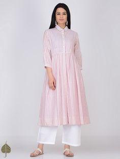Ivory-Pink Handloom Khadi Jacket with Dress by Jaypore (Set of Kurti Neck Designs, Kurta Designs Women, Kurti Designs Party Wear, Blouse Designs, Pakistani Fashion Casual, Indian Fashion, Women's Fashion, Simple Gown Design, Kurta Style