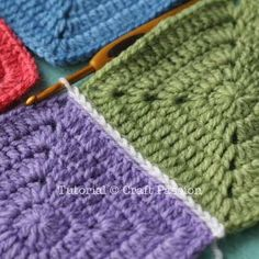 Crochet Tutorial Flat Slip Stitch Join For Granny Squares. Free crochet tutorial for seaming granny stitch squares. - Flat Slip Stitch is of the methods to join up the granny squares. It gives a flat yet clearly defined lines that framed up the squares. Joining Crochet Squares, Granny Square Crochet Pattern, Crochet Blocks, Crochet Motif, Free Crochet, Connecting Granny Squares, Double Crochet, Knitting Stitches, Knitting Patterns