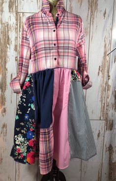 Large Women's Colorful Up Cycled Plaid Patchwork Dress, Repurposed Clothing, Fun & Funky and easy to wear Colorful patchwork dress … Boho Outfits, Trendy Outfits, Great Women, Large Women, Tall Women, Patchwork Dress, Sustainable Clothing, Refashion, Diy Fashion