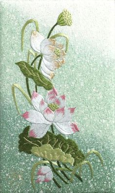 Lotus - traditional Japanese embroidery techniques