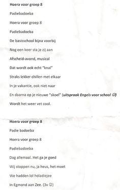 Afscheidslied groep 8 op melodie 'oh waterlooplein' bij bv. eindmusical