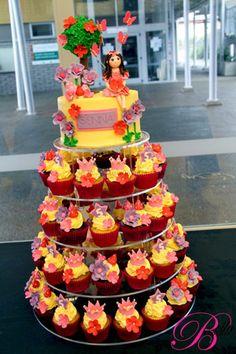Butterflies & Fairies Pink & Yellow Little Girl's Birthday Cupcake Tower