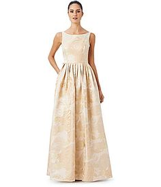 Adrianna Papell Sleeveless Floral Gown #Dillards- perfect! just need it in anything other than champagne!