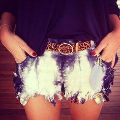 Dipdye shorts . Tiedye shorts. Cheetah belt