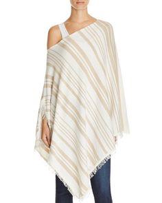 Minnie Rose Blanket Stripe Cashmere Ruana Poncho