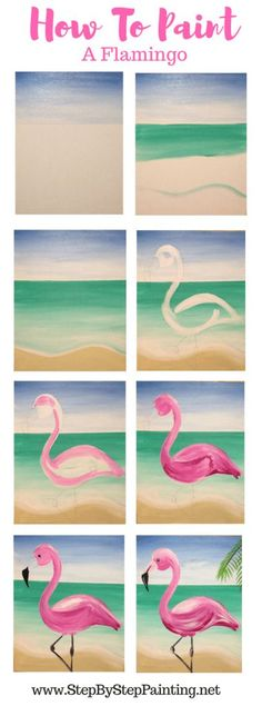 Flamingo Painting Learn How To Paint A Flamingo Step By Step : Easy step by step painting tutorial for beginners & kids. How to paint a flamingo with beach background in acrylics on canvas stepbysteppainging flamingo flamingoparty Flamingo Painting Learn Easy Canvas Painting, Diy Canvas Art, Diy Painting, Painting & Drawing, Canvas Ideas, Summer Painting, How To Paint Canvas, Simple Paintings On Canvas, Easy Acrylic Paintings