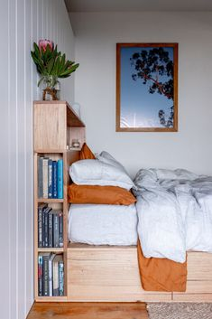 Ultimate storage solution - our custom Bookshelf Drawer Bed features 4 drawers in the platform base and a bookshelf bedhead. Handmade from solid locally sourced Australian hardwood. Styled with matching side tables and Bed Threads linen. Bed Headboard Storage, Bed Headboard Design, Headboards For Beds, Bed Design, Kids Beds With Storage, Small Bedroom Storage, Bookshelf Headboard, Bed With Bookshelves, Timber Furniture