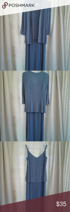 Long dress by Alex Evenings sz 12 MOB EUC Beautiful flowing long dress with jacket by Alex Evenings in excellent used condition. This has only been worn once! Has light weight shoulder pads that can easily be removed. Perfect for Mother of the Bride. Color is a very light shade of purple maybe periwinkle ... it is almost blue. If interested in purchasing let's talk size first. You will love this dress! Alex Evenings Dresses Maxi