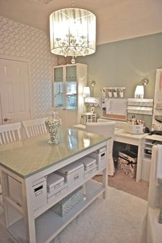 sophisticated craft room office
