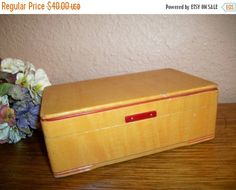 Jewelry Box Antique Blond Wood Red Trim  by SpringJewelryThings