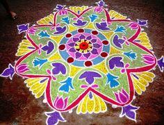Colourful freehand rangoli.