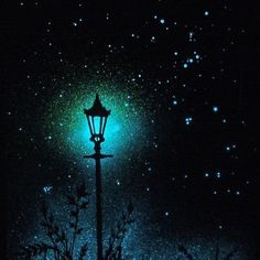 Glow in the Dark Star Poster - The lamp post and the starry night - Orion - Astr. Glow in the Dark Star Poster - The lamp post and the starry night - Orion - Astronomically Accurate Source by Dark Paintings, Glow Paint, Dark Star, Art Plastique, Night Skies, Painting Inspiration, Painting & Drawing, Amazing Art, Cool Art