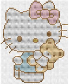 Kawaii Hello Kitty cross stitch pattern PDF by NostalgicLacquer