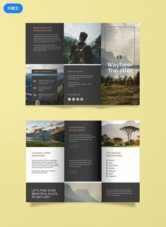 Free Travel Agency Brochure Template - A brochure with a contemporary design that is sure to awaken the wanderlust of your clients. Travel Brochure Design, Graphic Design Brochure, Corporate Brochure Design, Brochure Design Inspiration, Travel Design, Graphic Design Posters, Business Brochure, Brochure Indesign, Travel Brochure Template