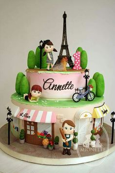 Parisian girls - For all your cake decorating supplies, please visit… Paris Themed Cakes, Paris Cakes, Sweet Cakes, Cute Cakes, Fondant Cakes, Cupcake Cakes, Parisian Cake, Bolo Paris, Travel Cake