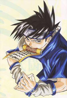 Sasuke Uchiha of the Naruto series illustration by Masashi Kishimoto