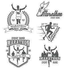 Marathon logo label vector by IvanMogilevchik on VectorStock®