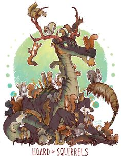 "iguanamouth: "" UNUSUAL HOARD commission for orannisthesquirrelking of INCREDIBLY a bunch of squirrels, how do they keep em all here without them fighting each other, who knows """
